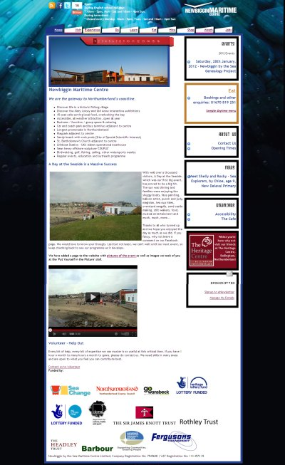 Newbiggin by the Sea Maritime Centre website design, development, maintenance, IT infrastructure and email infrastructure.